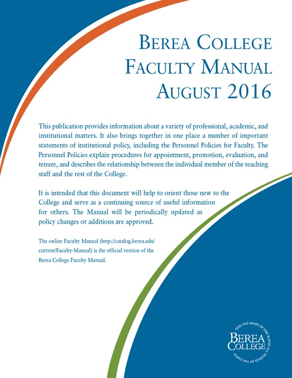 Berea College Faculty Manual August 2016 Cover Page